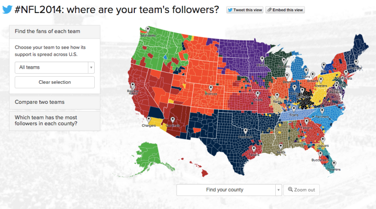NFL followers mapped